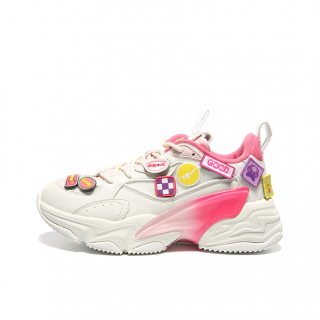 Peak Taichi  × Anipop Club Womens Trend High Gang Lifestyle Shoes - White/Pink