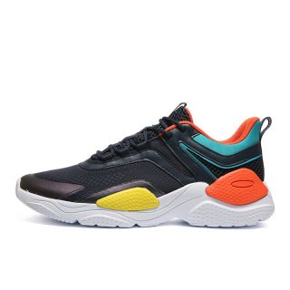 Peak Mens Breathe Fashion Lifestyle Sneaker - Black/Orange